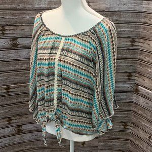 LIVE AND LET LIVE Boho Lace Tie Front Top